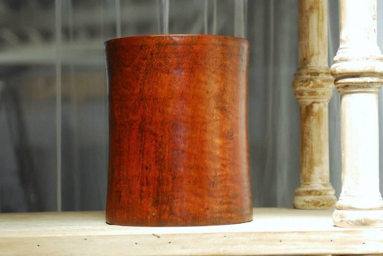 19th Century Monumental Chinese Carved Rosewood Brush Pot  For Sale 2