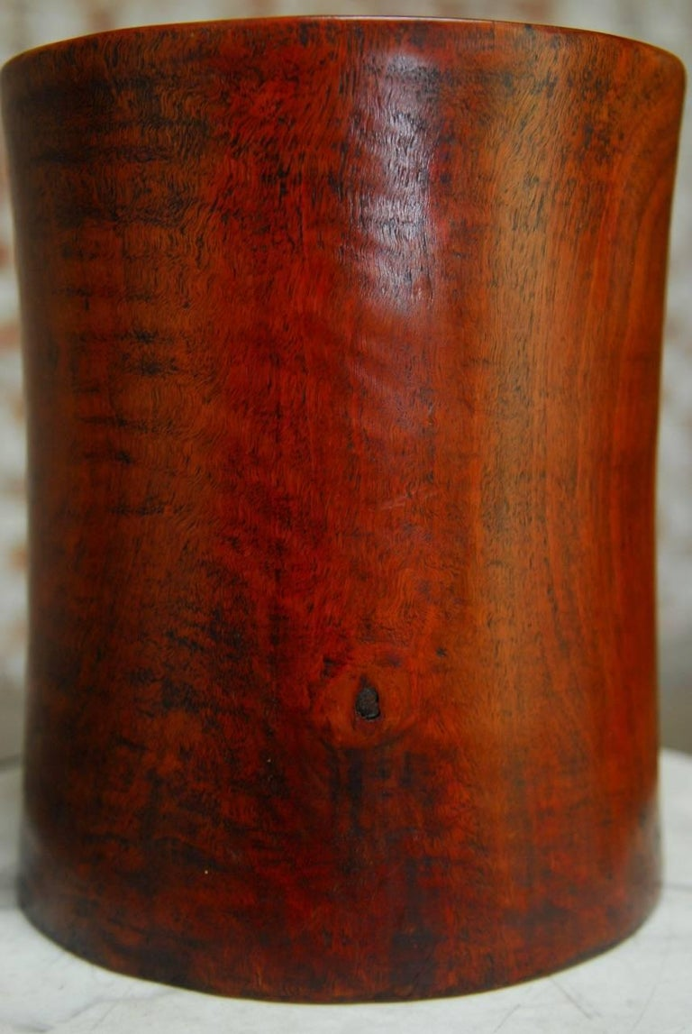 19th Century Monumental Chinese Carved Rosewood Brush Pot  For Sale 5