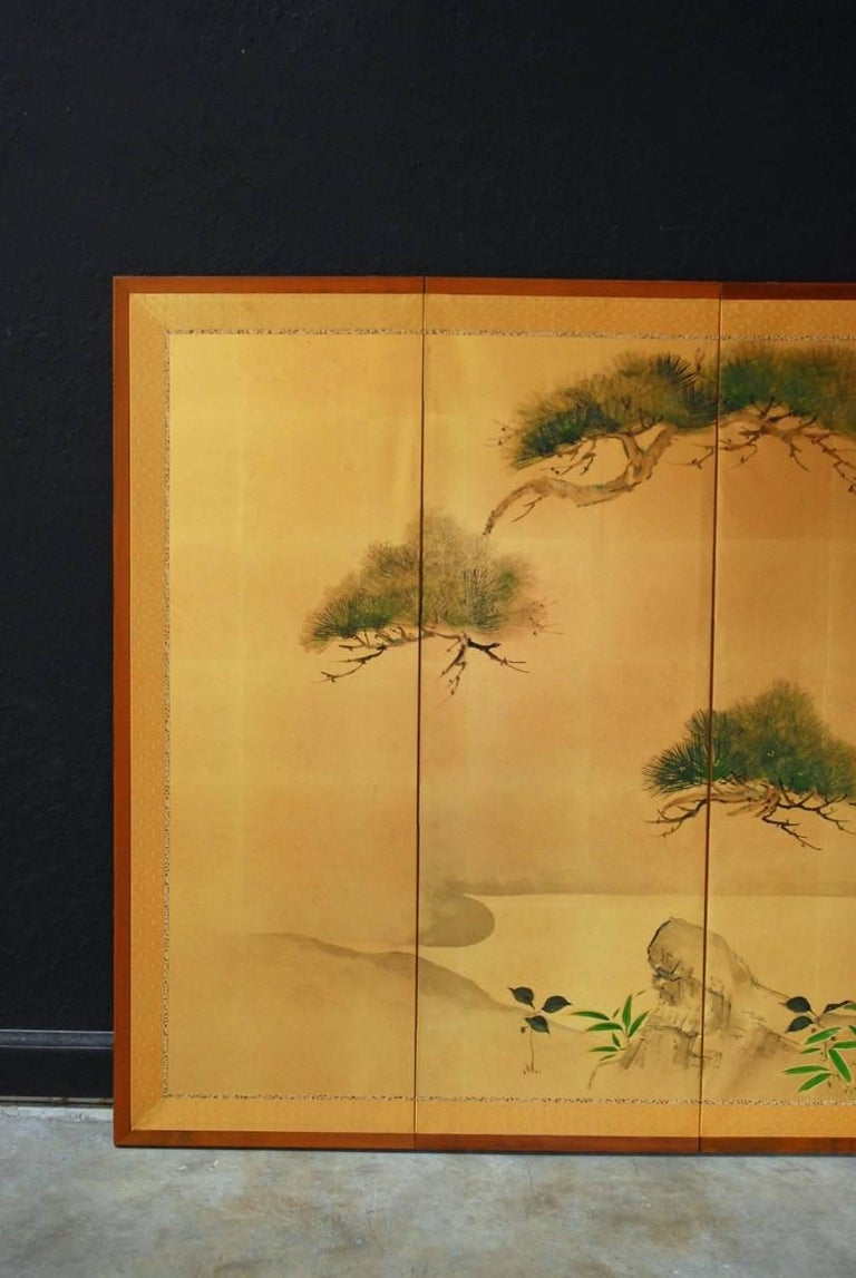 Japanese Six Panel Byobu Screen Of Pine Trees On Gold Leaf