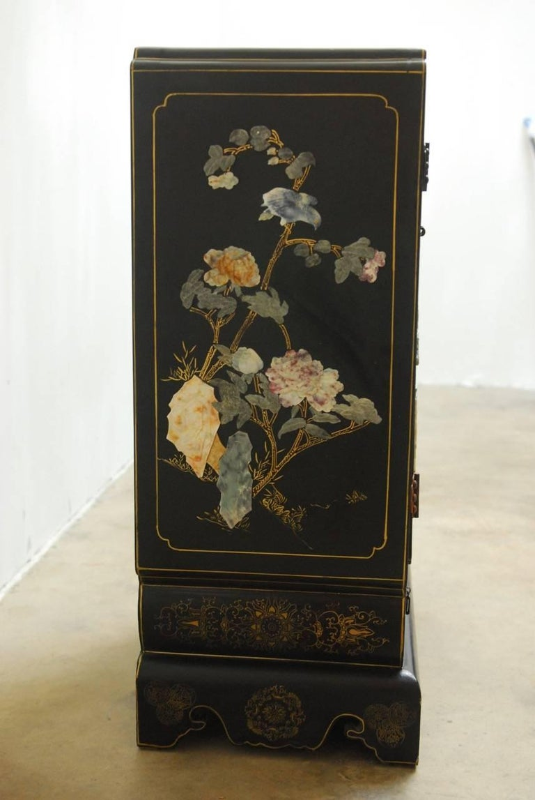 Chinese Black Lacquer Soapstone Scholar S Cabinet At 1stdibs