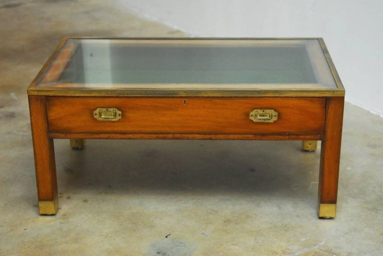 19th Century English Mahogany Campaign Coffee Table Display Case At 1stdibs
