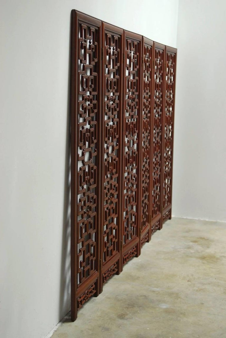 Ming Chinese Six-Panel Rosewood Carved Lattice Screen For Sale