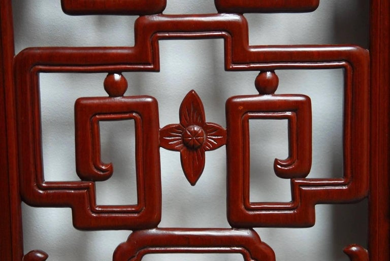 Chinese Six-Panel Rosewood Carved Lattice Screen For Sale 1