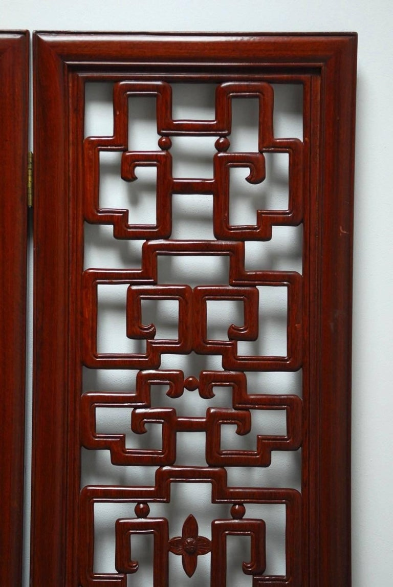 Hand-Carved Chinese Six-Panel Rosewood Carved Lattice Screen For Sale