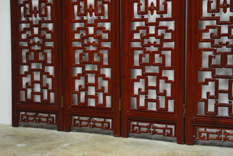 20th Century Chinese Six-Panel Rosewood Carved Lattice Screen For Sale