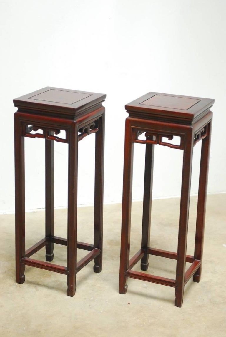 Pair Of Chinese Rosewood Carved Plant Stand Pedestals For