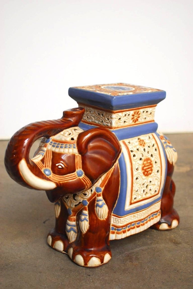 Pair of Ceramic Elephant Garden Stools or Drink Tables In Excellent Condition For Sale In Oakland, CA