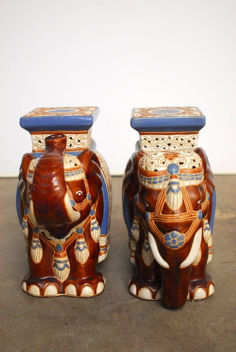 Hollywood Regency Pair of Ceramic Elephant Garden Stools or Drink Tables For Sale