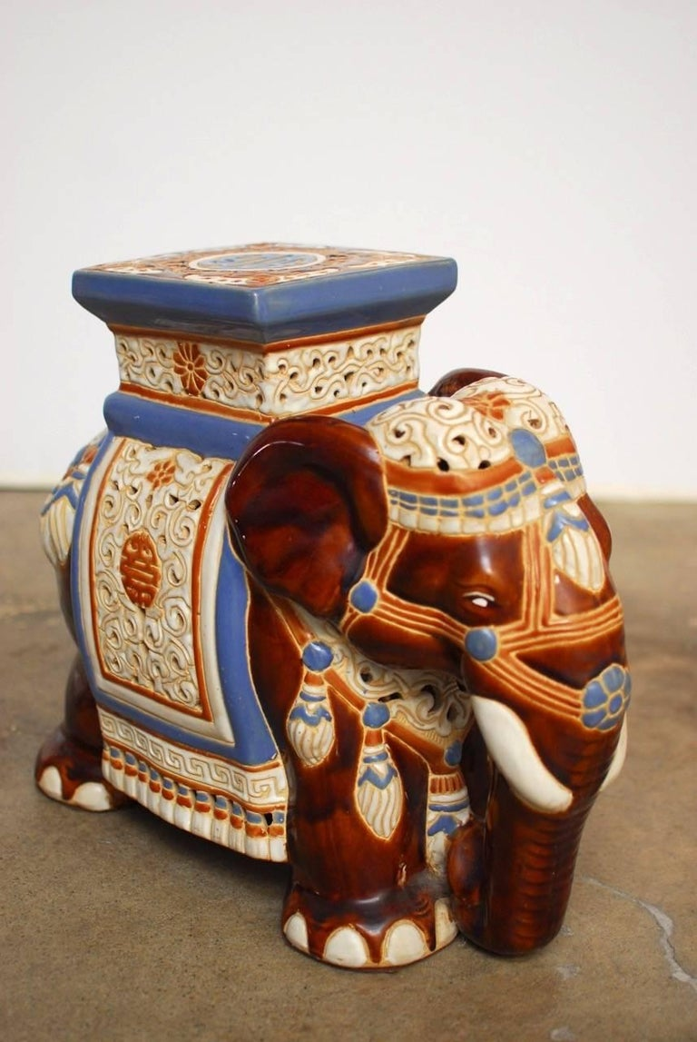 Pair of Ceramic Elephant Garden Stools or Drink Tables For Sale at ...