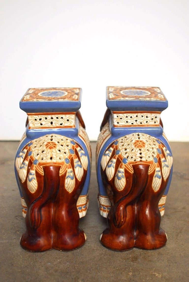Pair of Ceramic Elephant Garden Stools or Drink Tables For Sale 1