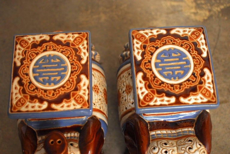Chinese Pair of Ceramic Elephant Garden Stools or Drink Tables For Sale