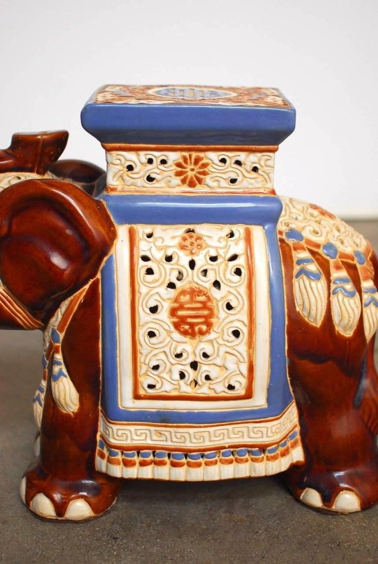 20th Century Pair of Ceramic Elephant Garden Stools or Drink Tables For Sale