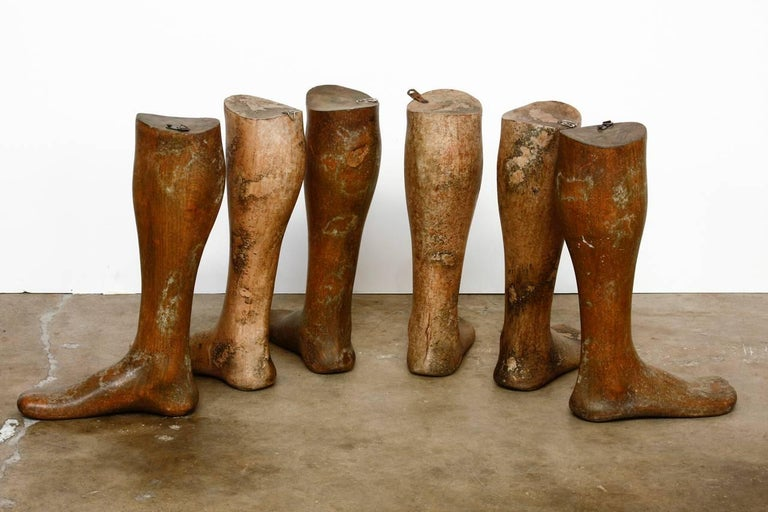 English 19th Century Wooden Riding Boot Molds or Forms For Sale