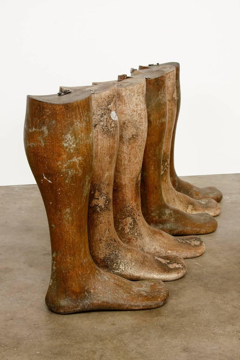 Industrial 19th Century Wooden Riding Boot Molds or Forms For Sale