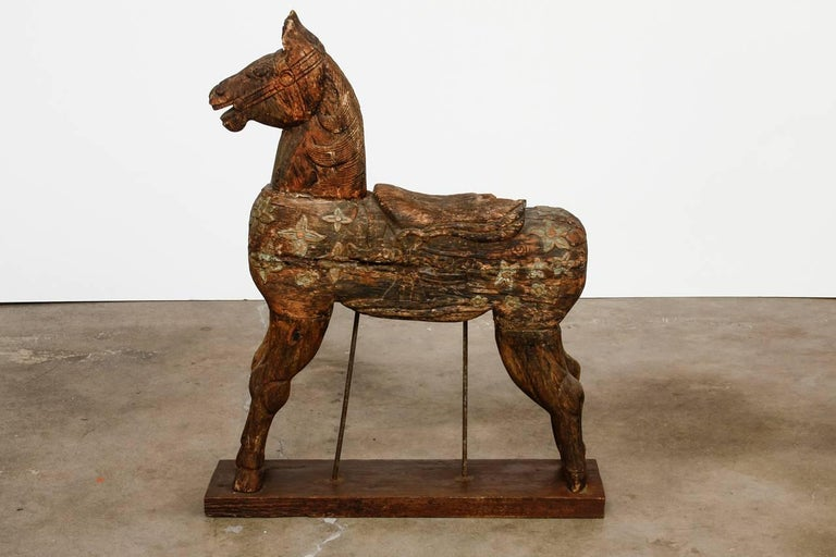 Indian 19th Century Wooden Polychrome Carved Mounted Temple Horse For Sale