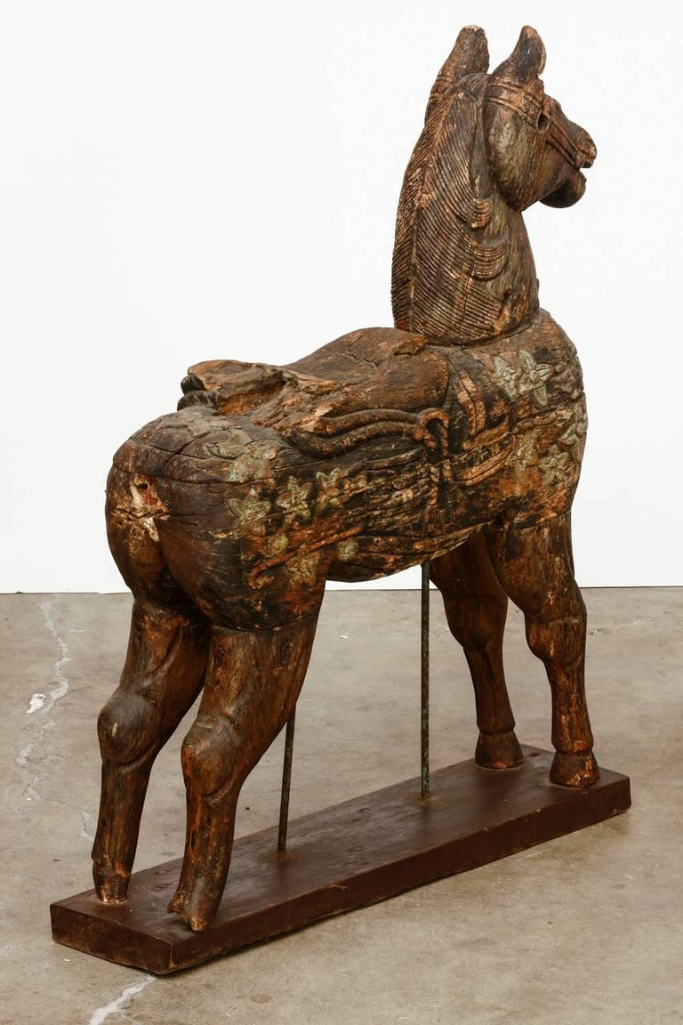 19th Century Wooden Polychrome Carved Mounted Temple Horse In Distressed Condition For Sale In Oakland, CA