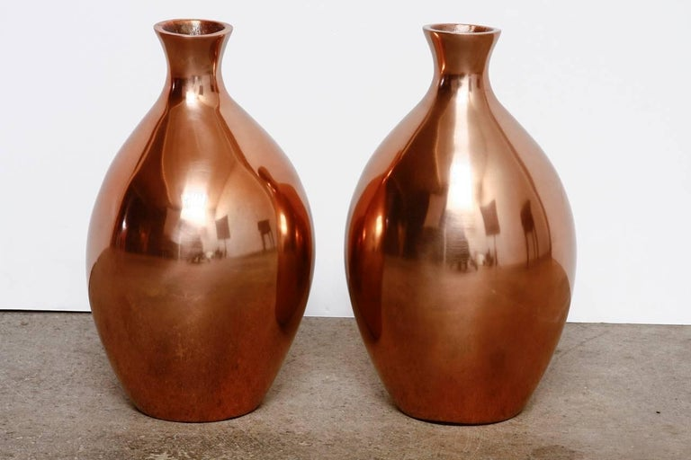Pair Of Asian Polished Copper Vases By Gumps At 1stdibs