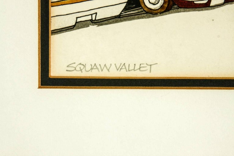 Mid Century Modern original signed print of Squaw Valley, California by artist Woody Hansen. Features a hand colored image framed in a chrome frame and a thick white border. The image is double matted and sealed with an artist signature on the
