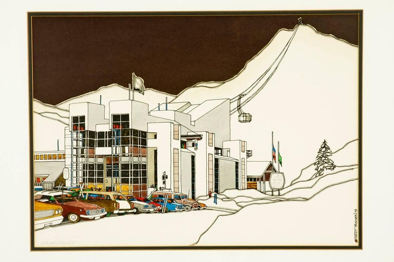 Mid-Century Modern Mid-Century Original Squaw Valley Print by Woody Hansen, 1973 For Sale
