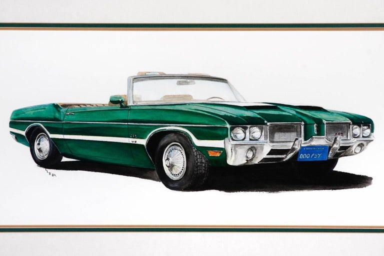 Green Olds 442 Muscle Car Original Americana Watercolor For Sale At