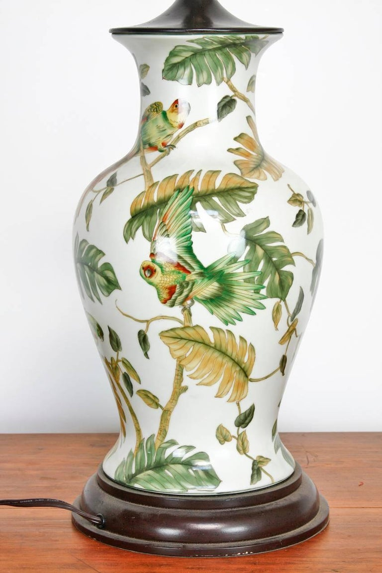 Pair Of Chinoiserie Banana Leaf Ginger Jar Lamps By