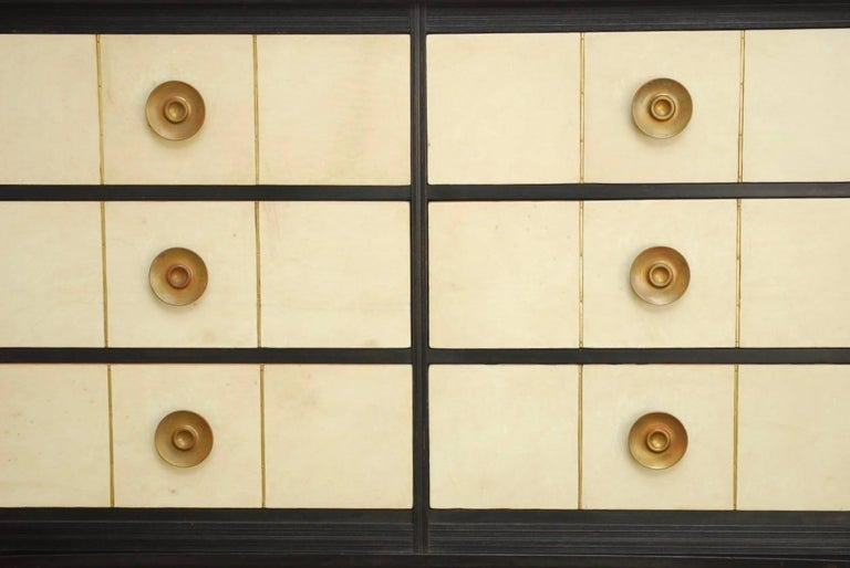 Mid Century Modern Ebonized Chest Of Drawers Featuring Goatskin Covered Made In The Manner