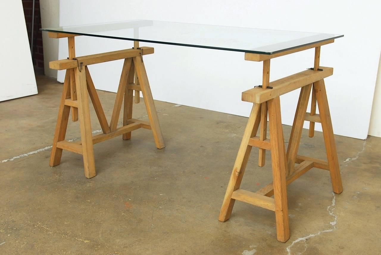 Midcentury Adjustable Height French Oak Sawhorse Desk For Sale At 1stdibs