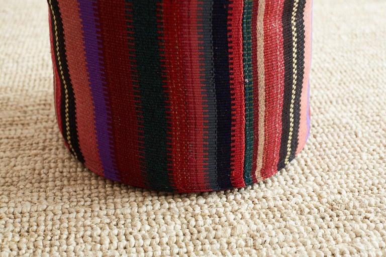 Pair Of Turkish Kilim Striped Pouf Ottomans For Sale At 40stdibs Stunning Turkish Kilim Pouf