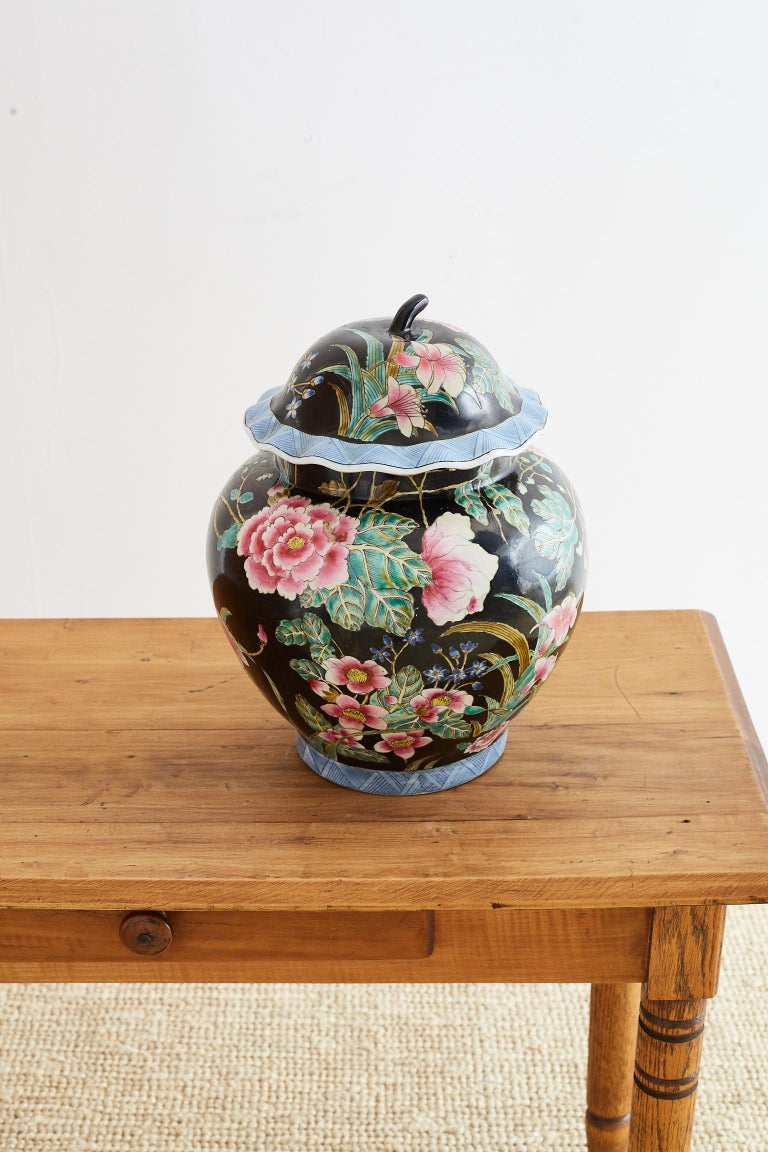 Hand-Crafted Chinese Export Famille Noir Porcelain Ginger Jar For Sale