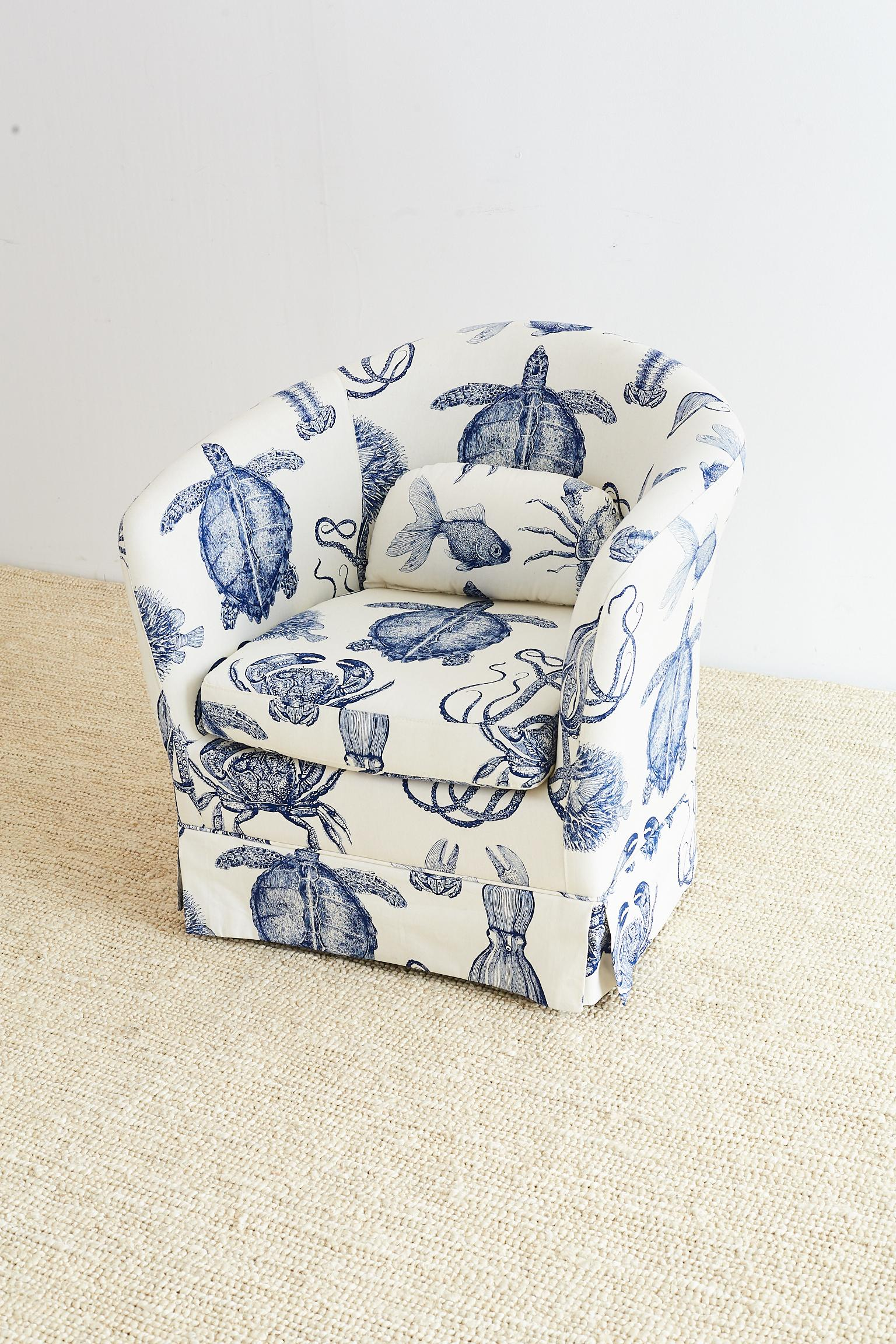 Fabulous Blue And White Sea Life Nautical Upholstered Club Chair By Thomas  Paul. Features An