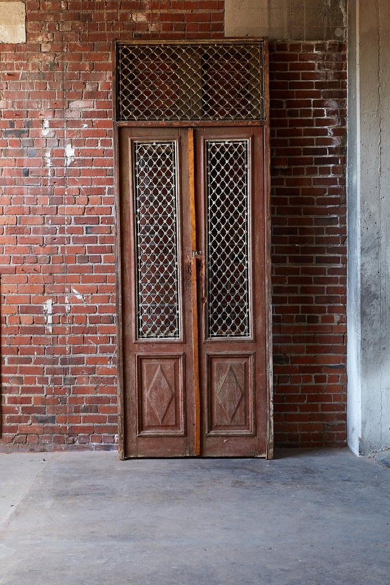 Monumental French Doors And Transom With Iron Grills For Sale At 1stdibs