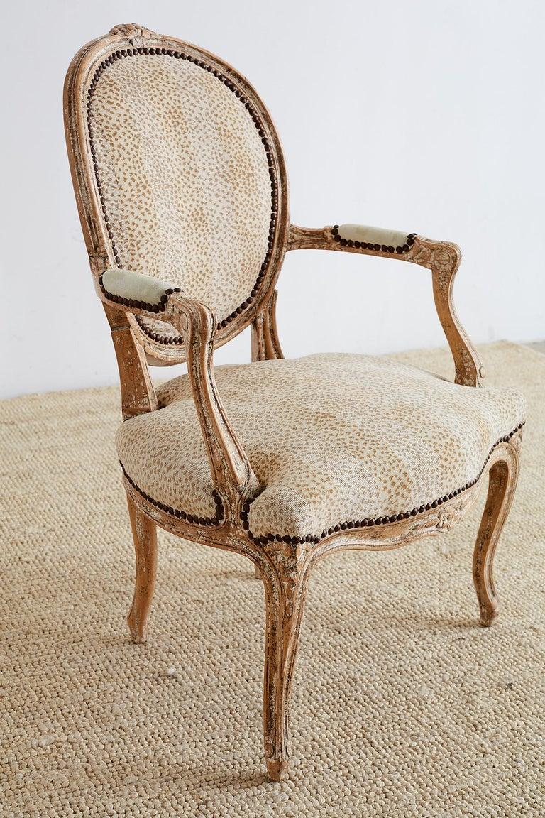Brass Pair of French Louis XV Style Upholstered Fauteuils For Sale