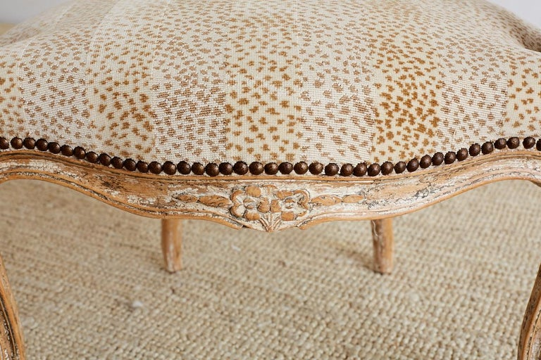 Pair of French Louis XV Style Upholstered Fauteuils For Sale 5