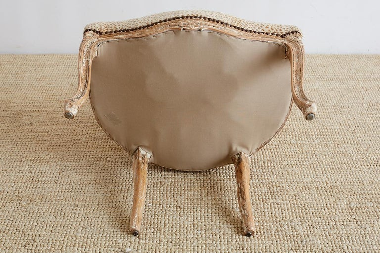 Pair of French Louis XV Style Upholstered Fauteuils For Sale 6