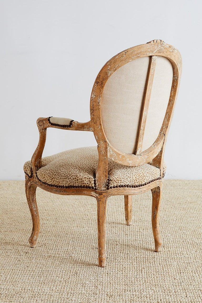 Pair of French Louis XV Style Upholstered Fauteuils For Sale 7