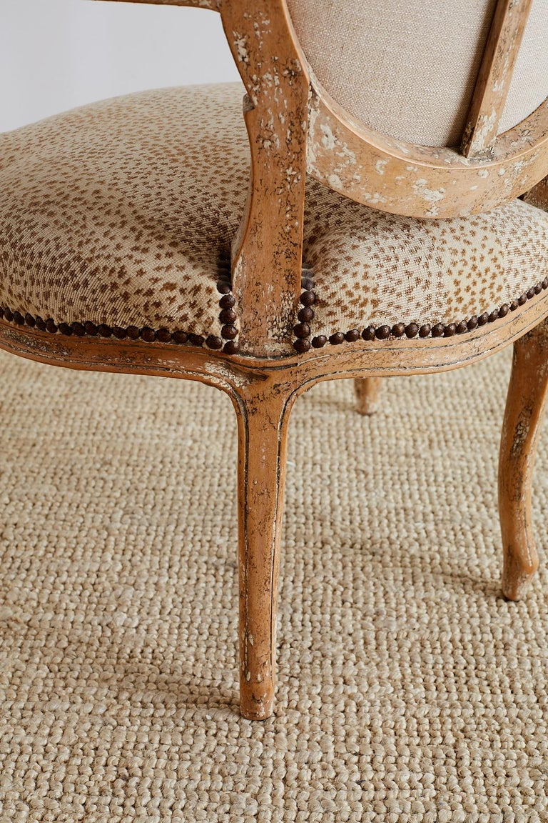 Pair of French Louis XV Style Upholstered Fauteuils For Sale 9