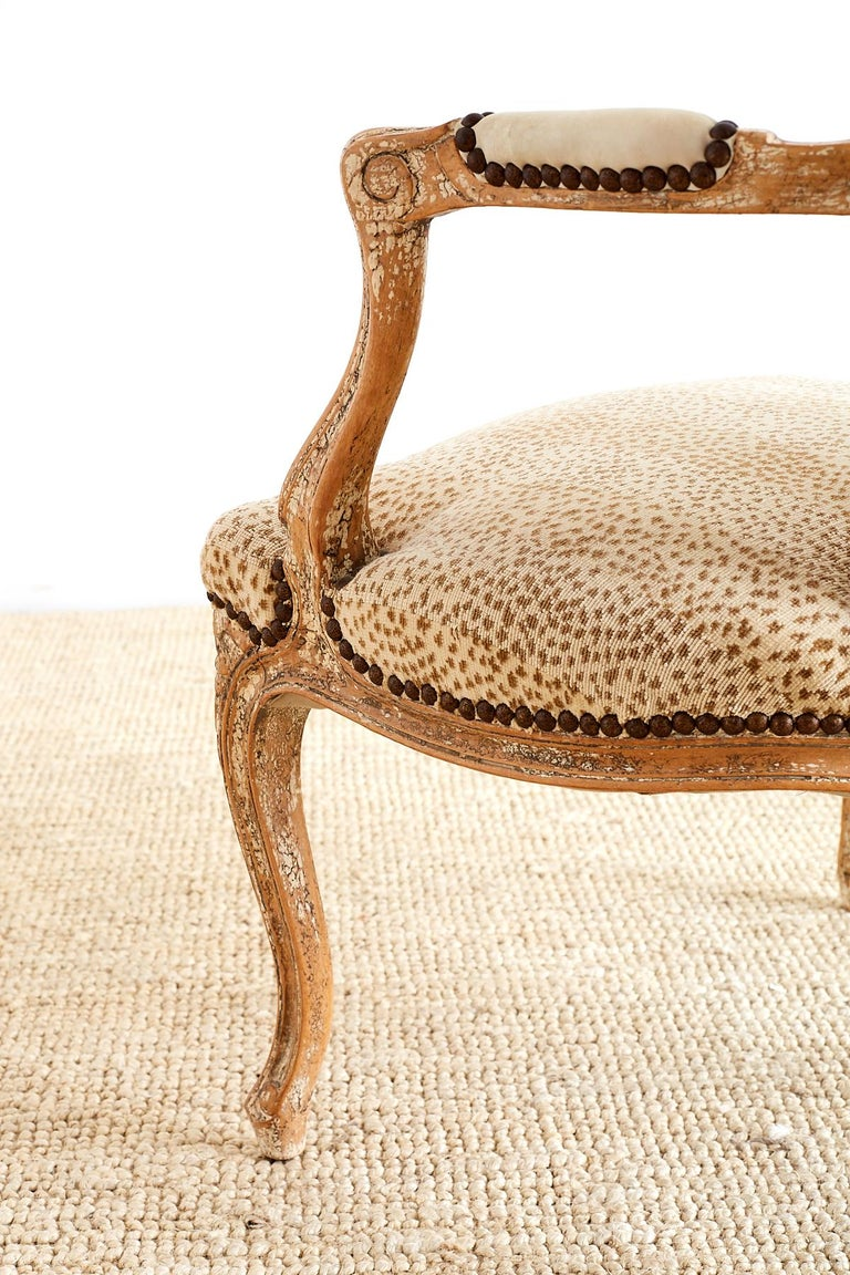 Pair of French Louis XV Style Upholstered Fauteuils For Sale 10