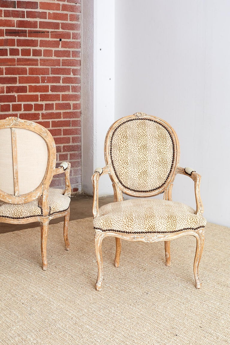Pair of French Louis XV Style Upholstered Fauteuils For Sale 11
