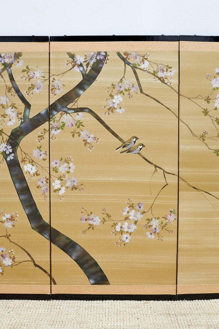 Japanese Four-Panel Screen Cherry Blossoms on Silk at 1stdibs