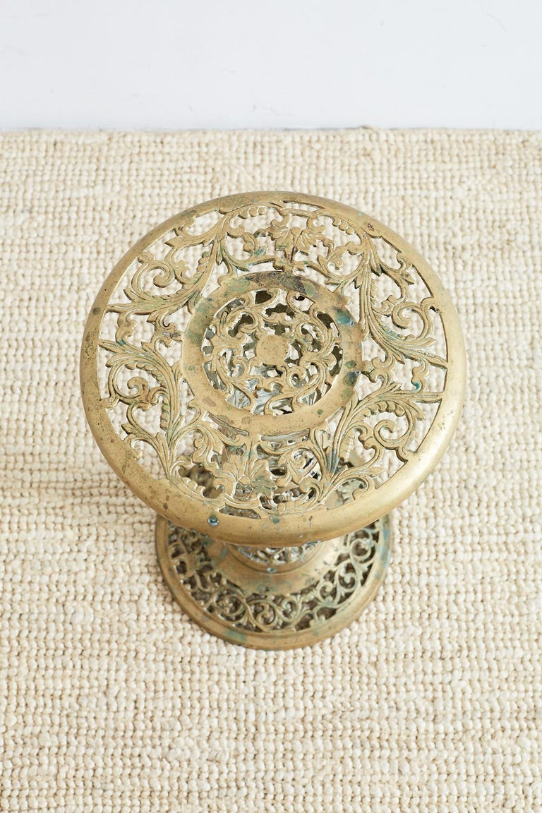 Hollywood Regency Asian Brass Reticulated Pedestal Drink Table For Sale