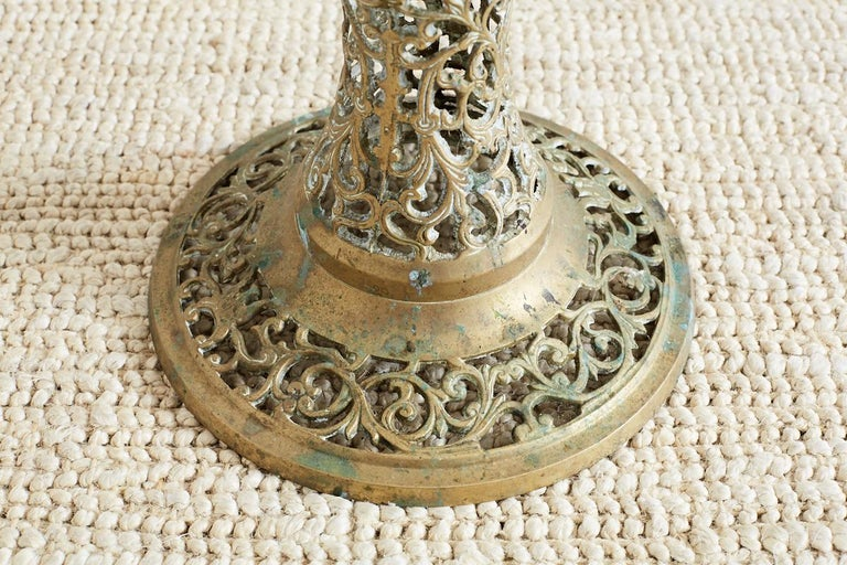20th Century Asian Brass Reticulated Pedestal Drink Table For Sale