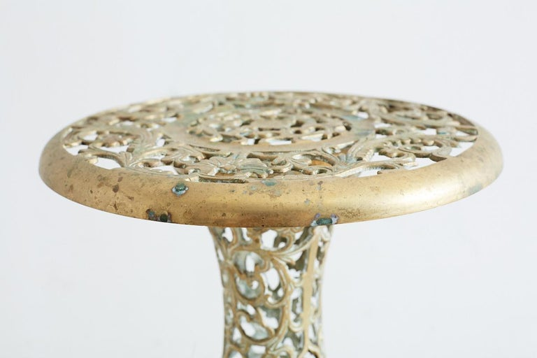 Asian Brass Reticulated Pedestal Drink Table For Sale 1