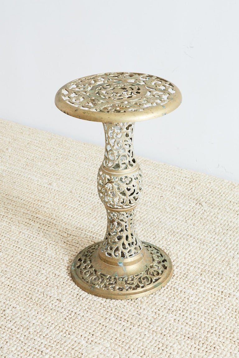 Asian Brass Reticulated Pedestal Drink Table For Sale 2
