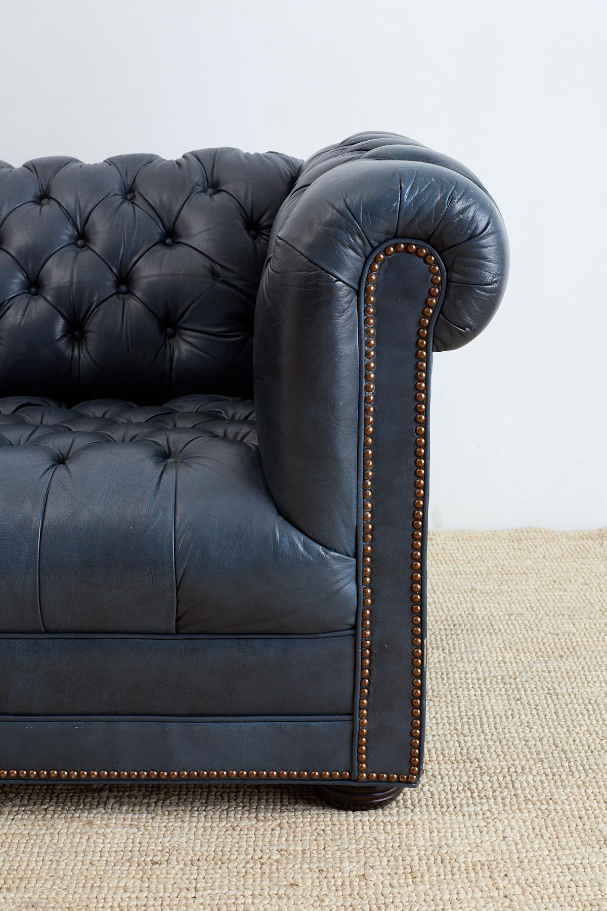 Hand Crafted English Tufted Navy Blue Chesterfield Sofa For Sale