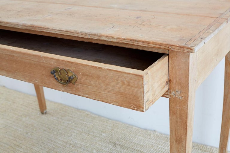 Brass 19th Century American Pine Writing Table Desk For Sale