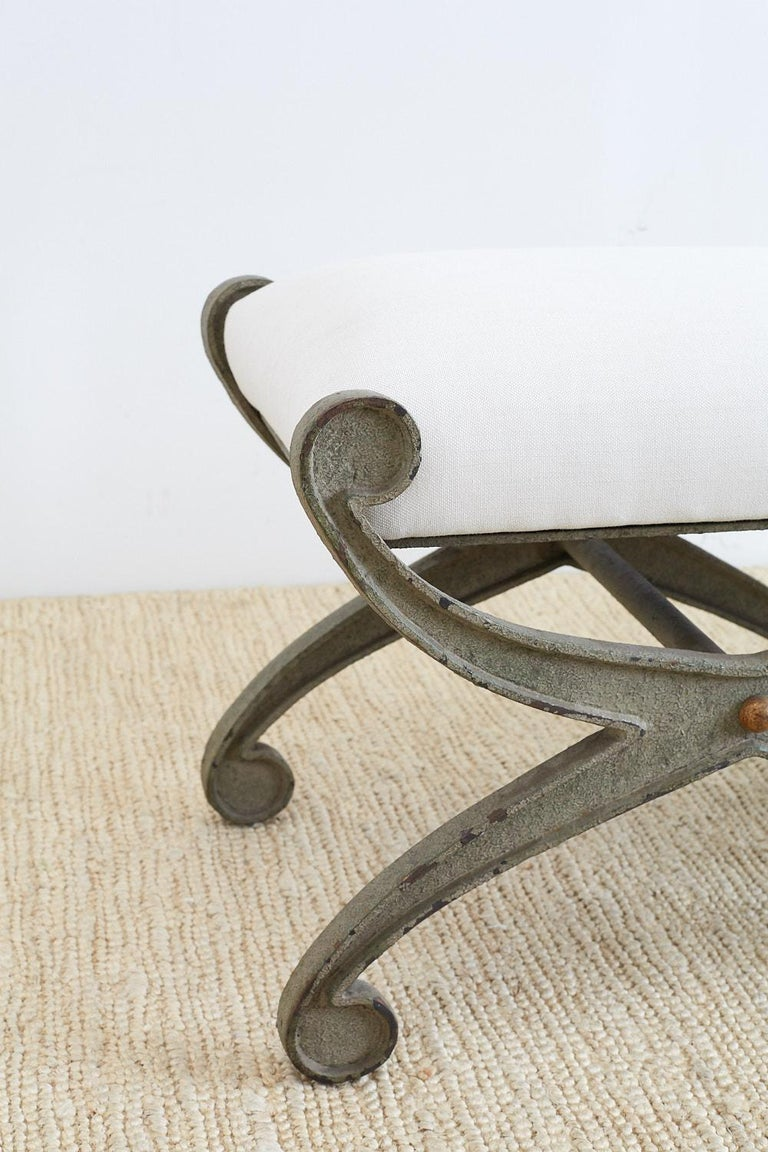 Neoclassical Pair of Curule Iron Benches or Stools For Sale