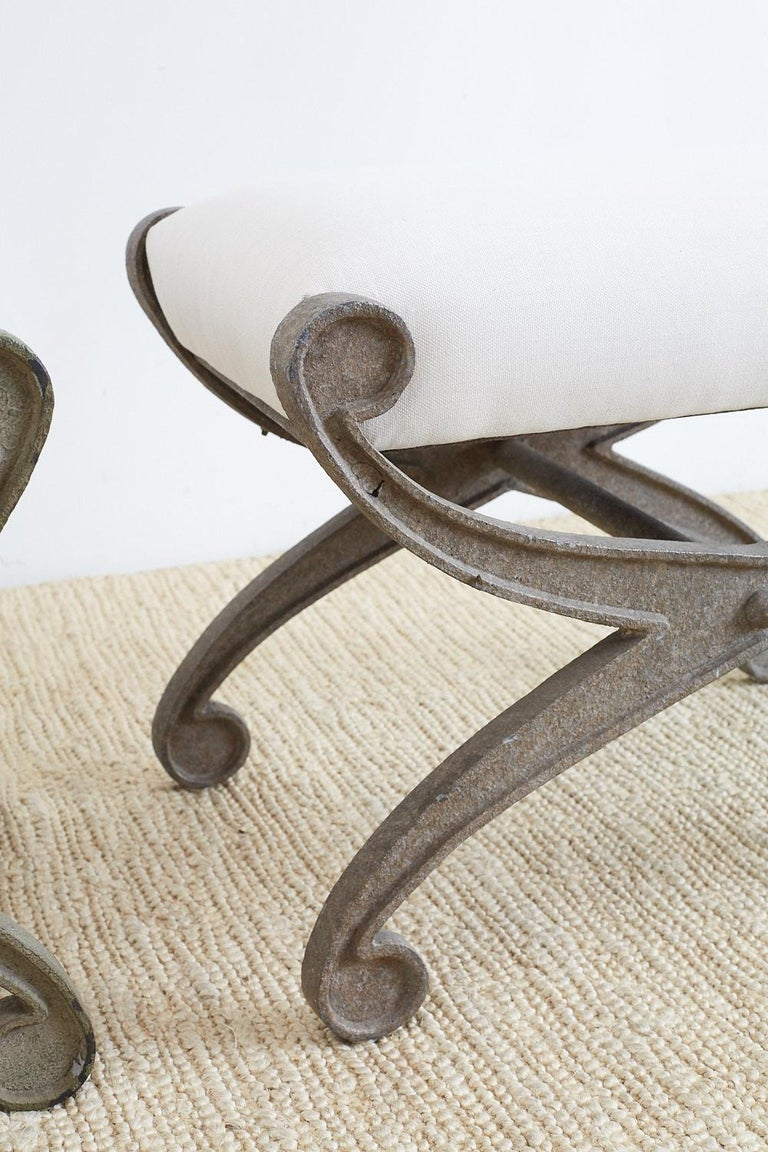 American Pair of Curule Iron Benches or Stools For Sale
