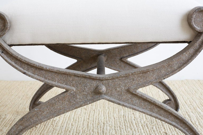 Pair of Curule Iron Benches or Stools In Good Condition For Sale In Oakland, CA