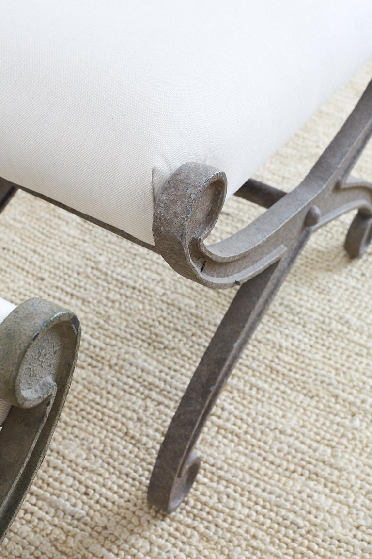 Pair of Curule Iron Benches or Stools For Sale 2