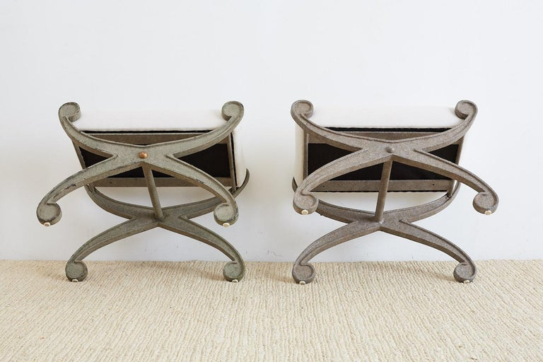 Pair of Curule Iron Benches or Stools For Sale 4
